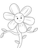 Smiling flower coloring page. Useful as coloring book for kids Stock Photo