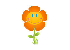 Smiling flower illustration. Happy flower. :) High res JPEG and editable EPS included Stock Photo