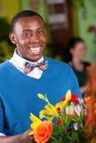 Smiling Flower Shop Customer Stock Images