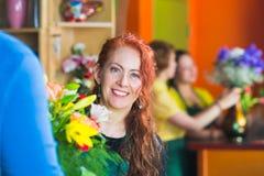 Smiling Flower Shop Owner Stock Images