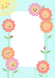 Smiling flowers frame Stock Image