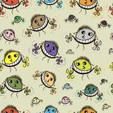 Smiling flying monsters seamless texture. The smiling colourful flying monsters with the propeller seamless texture Stock Photos