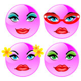 Smiling four vector balls. Pink girls. Smiling funny pink four balls. Vector illustration Vector Illustration