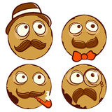 Smiling four vintage vector balls Stock Photo