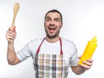 Smiling freak wants to cook something special and tasty.. He is not afraid of failrules. Isolated on white background. Smiling freak wants to cook something stock photos