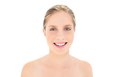 Smiling fresh blonde woman looking at camera Stock Image