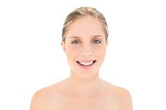 Smiling fresh blonde woman looking at camera Stock Image