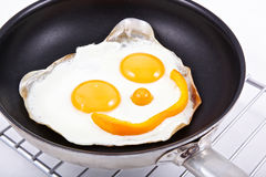 Smiling fried eggs Stock Photos