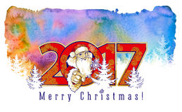 Smiling friendly young man in costume of Santa Claus. And the inscription 2017. Watercolor background Stock Photos