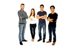 Smiling friends in casual cloth royalty free stock photo