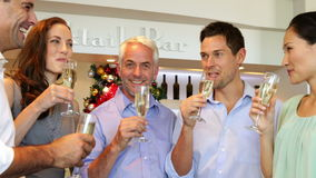Smiling friends celebrating christmas together with champagne stock footage