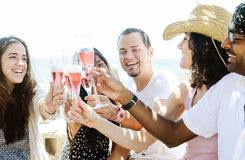 Smiling friends celebrating a special occasion with drinks Royalty Free Stock Image