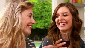 Smiling friends drinking red wine. At home stock footage