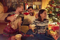 Friends having fun on Christmas Party at home stock images
