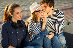 Smiling friends having fun outdoors Royalty Free Stock Images