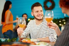 Smiling friends holding glasses at dinner party royalty free stock photos