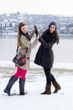 Smiling friends holding hands, winter Stock Photo