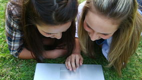 Smiling friends lying on the grass while using a laptop stock footage
