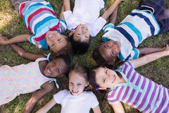 Smiling friends lying on grassy field in forest Royalty Free Stock Images