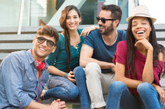 Smiling friends outdoor in the city Royalty Free Stock Photos