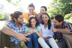 Smiling friends in the park taking selfie Royalty Free Stock Photography