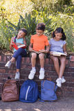 Smiling friends reading books at natural parkland. Smiling friends reading books while sitting on retaining wall at natural parkland Stock Image