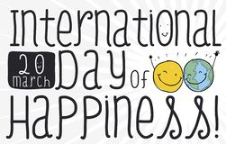 Smiling Friends Ready to Celebrate International Day of Happiness, Vector Illustration. Yellow happy spot and globe like cute pair of friends hugging each other royalty free illustration