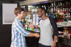 Smiling friends shaking hands Stock Images