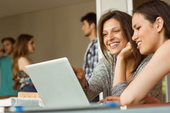 Smiling friends sitting using laptop Stock Photo