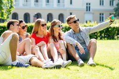 Smiling friends with smartphone sitting on grass Royalty Free Stock Images