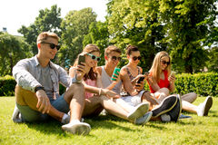 Smiling friends with smartphones sitting on grass Stock Image