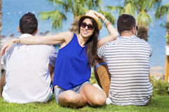 Smiling friends on summer sea vacation Stock Photos