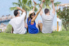 Smiling friends on summer sea vacation Royalty Free Stock Photos
