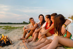 Smiling friends in sunglasses on summer beach Stock Photography