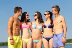 Smiling friends in sunglasses on summer beach Stock Image