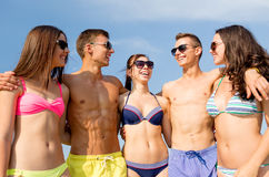 Smiling friends in sunglasses on summer beach Royalty Free Stock Photos