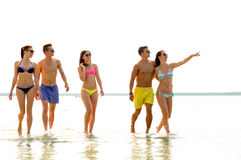 Smiling friends in sunglasses on summer beach Stock Photo
