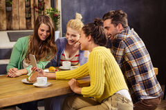 Smiling friends taking a selfie Stock Images