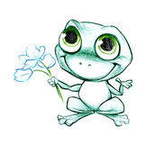 Smiling frog with flowers Royalty Free Stock Photo
