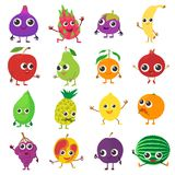 Smiling fruit icons set, cartoon style. Smiling fruit icons set. Cartoon illustration of 16 smiling fruit vector icons for web Royalty Free Stock Image