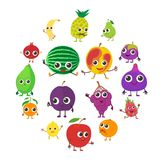 Smiling fruit icons set, cartoon style. Smiling fruit icons set. Cartoon illustration of 16 smiling fruit vector icons for web Royalty Free Stock Photos