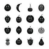 Smiling fruit icons set, simple style Stock Image