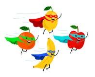 Smiling fruit superheroes vector illustration