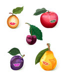 Smiling fruits set Stock Photography