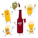 Smiling funny beer bottle, glass, can, mug hop characters, mascots. Funny beer bottle, glass, can, mug hop characters with smiling human faces, cartoon vector Stock Image