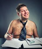 Smiling funny businessman. Work shirtless Royalty Free Stock Image