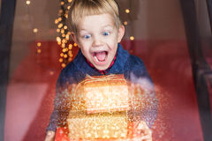 Smiling funny child holding Christmas gift in hand. Christmas concept. Birthday Royalty Free Stock Image