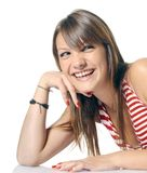 Smiling funny girl. Rest her face on your hand Stock Image
