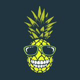 Smiling funny pineapple. With sunglasses.Funny toothed ananas.Vector print design royalty free illustration