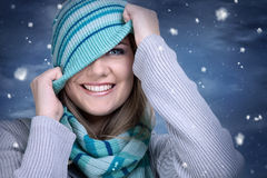 Smiling funny winter girl Stock Image